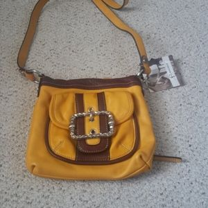 B.Makowsky yellow leather cross body bag NWT